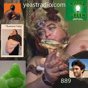 green fatty tranny eating fish while naked
